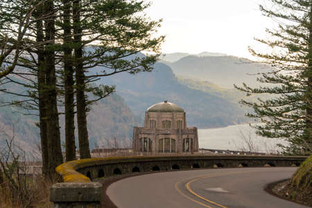Vista house on Crown Point along Old Columbia Highway in Columbia River Gorge Oregon