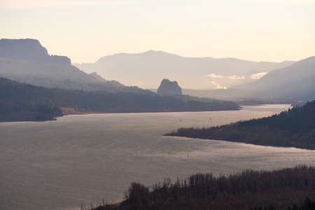 Beacon Rock along Columbia River Gorge in Washington State