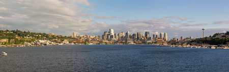 Seattle Washington City Skyline along Lake Union Panorama