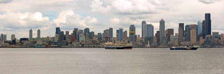 Seattle Washington city skylinw along Elliott Bay Panorama