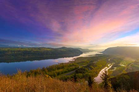 Sunrise Reflection over Columbia River Gorge between Oregon and Washington States