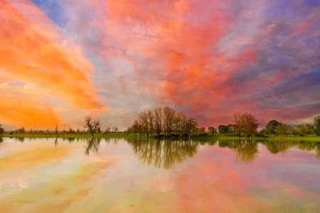 Colorful sunset over Sauvie Island farmland in Portland Oregon Stock Photo
