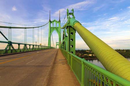 Saint Johns Bridge pedestrian sidewalk on East highway 30 bypass in Portland Oregon