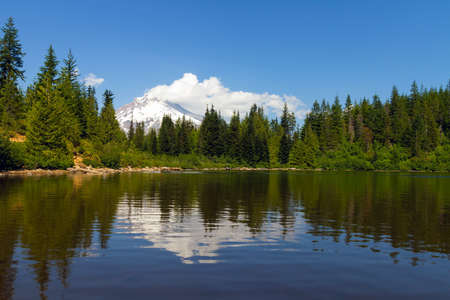 Mount Hood reflection on Mirror Lake on a blue sky day in Oregon