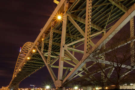 Under the Fremont Bridge in Portland Oregon at night