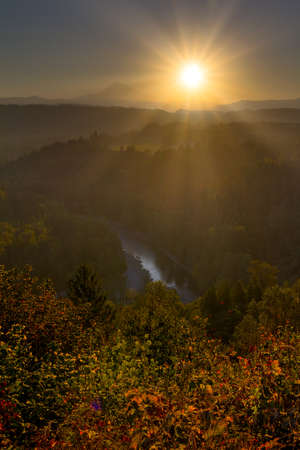 Sunrise over Mount Hood and Sandy River Valley in Oregon during Fall Season Stock Photo