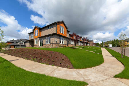 Brand New Town Homes for sale in North American suburban neighborhood Stock Photo