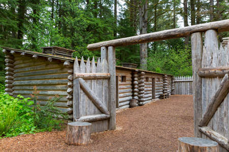 Gate to Log Encampment at Fort Clatsop in Lewis and Clark National and State Historical Park in Oregon