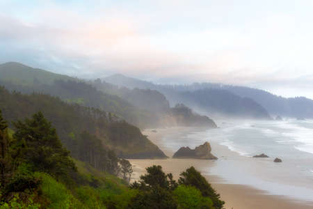 Falcon Point and Silver Point at Cannon Beach along Oregon Coast
