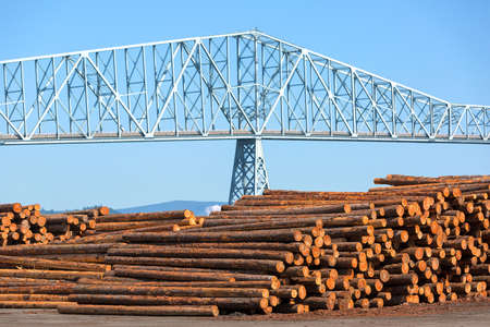 Lumber Mill in Rainier Oregon by Columbia River Longview Bridge