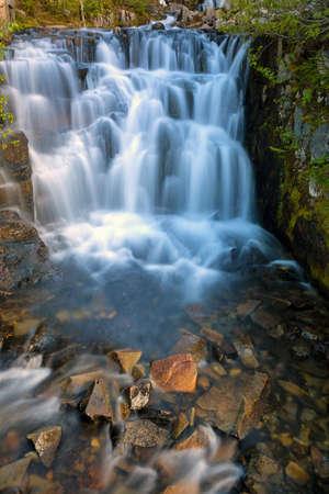 Waterfall along Sunbeam Creek in Mount Rainier National Park Washington State Stock Photo