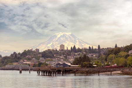 Mount Rainier from the city of Tacoma Washington State from the waterfront Stock Photo