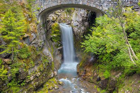 Christine Falls under stone bridge along Van Trump Creek in Mount Rainier National Park  Washington State