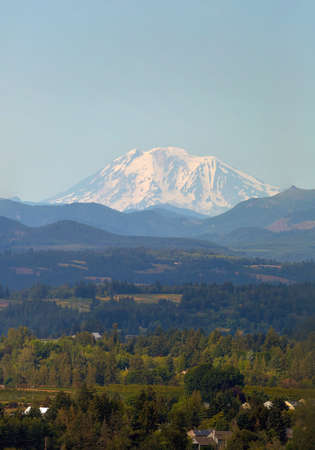 Snow covered Mount Adams in Washington State on a clear blue sky day