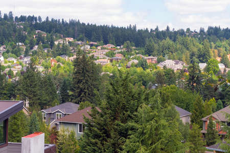 Hillside luxury homes in Happy Valley Oregon North American suburban neighborhood
