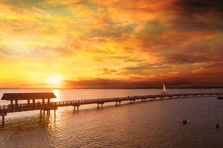Golden sunset along Boulevaard Park in Bellingham Bay Washington Stock Photo
