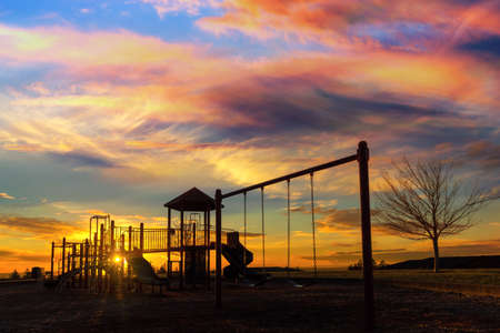 Children playground at Altamont Park on Mount Scott in Happy Valley Oregon during sunset Stock Photo
