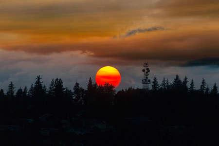 Smokey sunset sky over Mount Scott in Oregon