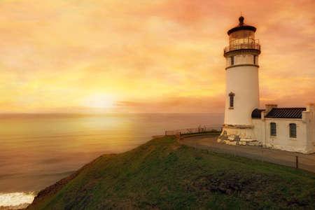 North Head Lighthouse in Ilwaco Washington State during sunset