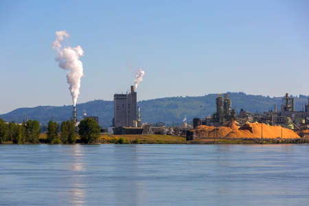 Pulp and Paper Mill along Columbia River in Longview Washington State Stock Photo