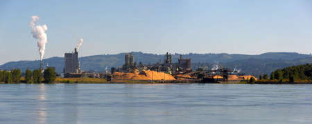 Pulp and Paper Mill along Columbia River in Longview Washington State Panorama