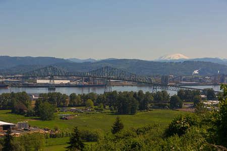 Lewis and Clark Cantilever Bridge over Columbia River between Rainier Oregon and Longview Washington States Stock Photo