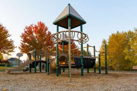 Children Kids playground in Beaverton Oregon suburban neighborhood park during fall season
