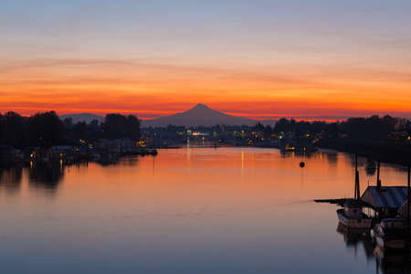 Mount Hood over Columbia River Border Crossing by Hayden Island Oregon during early morning dawn sunrise