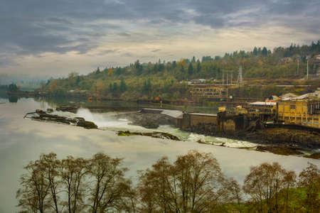Willamette Falls in Oregon City during Fall Season Stock Photo