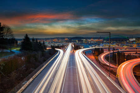 Freeway traffic light trails during sunset in Seattle Washington