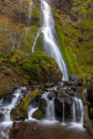 Starvation Creek Falls in Columbia River Gorge Oregon