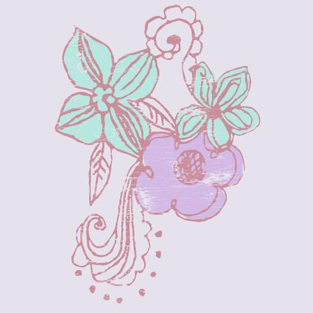 abstracto: flores a mano alsada Illustration