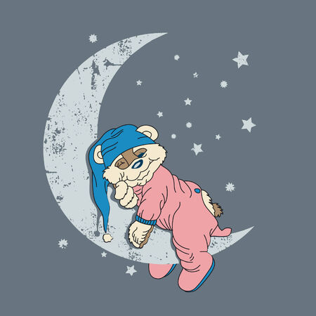 I design with a lot of creativity showing a bear sleeping in the moon Vektoros illusztráció
