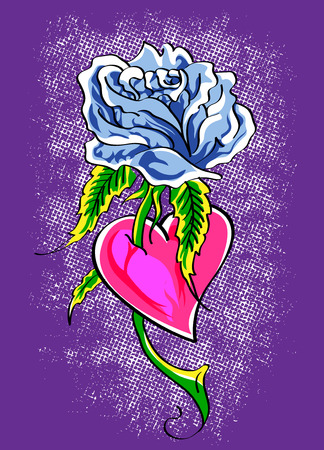 heart very: illustration of a rose with a very colorful heart