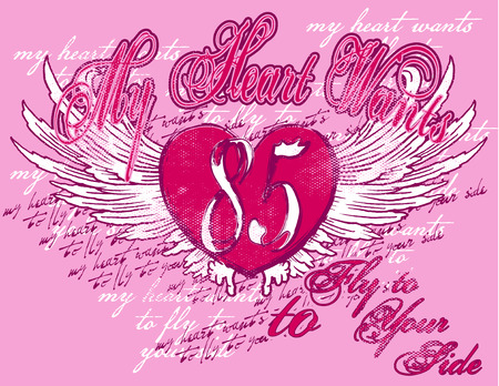 a composition with a heart wings and very colorful texts