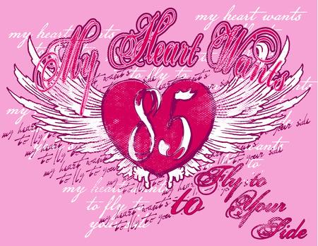 corazon con alas: una composici�n con un coraz�n alas y textos muy coloridas  Vectores