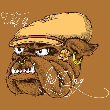 illustration of a dog gangster style