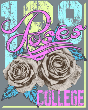 lettering design with illustrations of roses