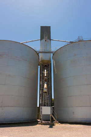 silos: Large steel grain silos with cloudless blue skies. Stock Photo