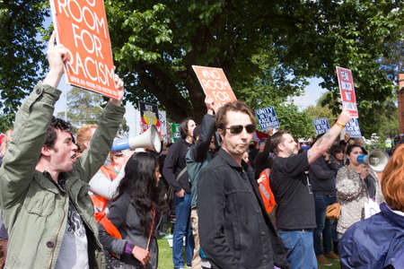 clash: MELTON, VICTORIAAUSTRALIA - NOVEMBER 2015: Anti Racism protesters violently clashed with reclaim australia groups rallying agsint Mulsim immigration. Editorial
