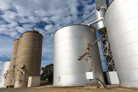 silos: Large industrial Grain Silos made of steel Stock Photo