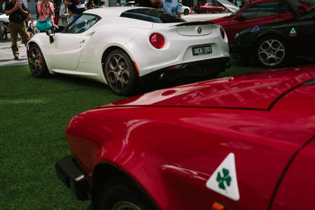 alfa: MELBOURNEAUSTRALIA - JANUARY 31: Car enthusists display their cars at the Car Club Showcase, Federation Square, Melbourne held on the 31st January 2016. Held on the last Sunday of every month it was the Alfa Romeo Owners Clubs turn to show off some of  Editorial