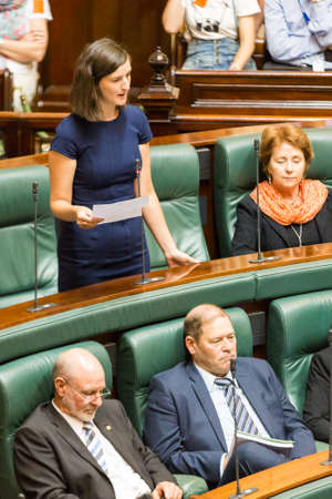 mp: MELBOURNEAUSTRALIA - FEBRUARY 9: Victorian Greens MP, Ellen Sandell, stands to talk in Question Time 2016. Editorial