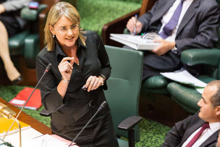 delays: MELBOURNEAUSTRALIA - FEBRUARY 9: The Minister for Public Transport answers questions over Train Delays in Question Time, as The Victorian Parliament resumes in 2016 Editorial
