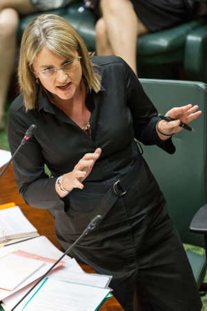 delays: MELBOURNEAUSTRALIA - FEBRUARY 9: Victoria;s Minister for Public Transport,Jacinta Allen, is grilled over VLine Delays over Summer in Question Time.