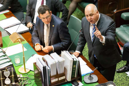 resumes: MELBOURNEAUSTRALIA - FEBRUARY 9: The State Treasurer, Tim Pallas, answers questions over excessive government spending as parliament resumes for 2016.