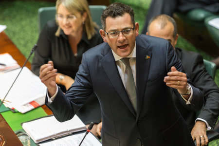 MELBOURNE/AUSTRALIA - FEBRUARY 9: The Victorian State Premier, Daniel Andrews, defends his governments policy on Level Crossings at 2016's first question time.
