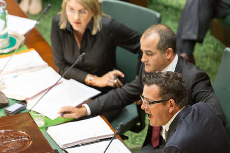 crossings: MELBOURNEAUSTRALIA - FEBRUARY 9: State Premier Daniel Andrews defends Gover Policy in Level Crossings in Auestion Time.