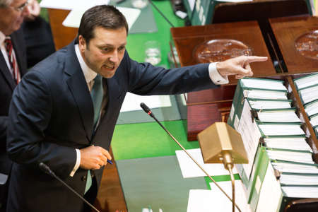 crossings: MELBOURNEAUSTRALIA - FEBRUARY 9: The leader of the Opposition, Matthew Guy grills the government level crossings in the first question time for 2016. Editorial