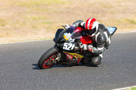 BROADFORD, VICTORIAAUSTRALIA - MARCH 13: A mix of road and race bikes tussle against each other at The Broadford Motorcycle Complex.